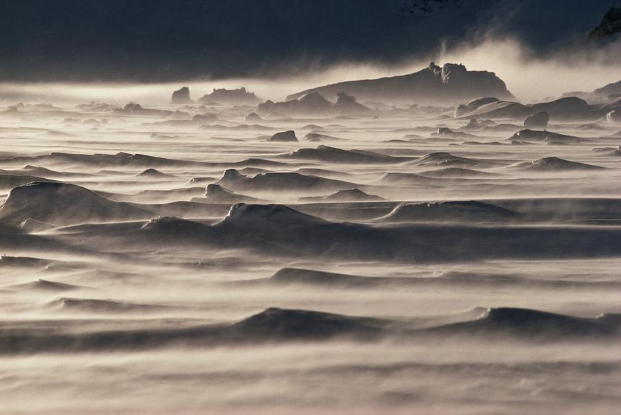 Snow Drift Over Winter Sea Ice Photograph