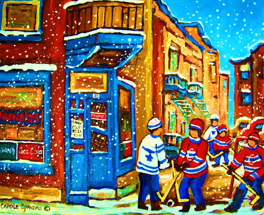 Snow Falling On The Game Painting  - Snow Falling On The Game Fine Art Print