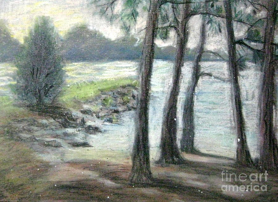 Snow Flurrys At Galts Ferry Pastel