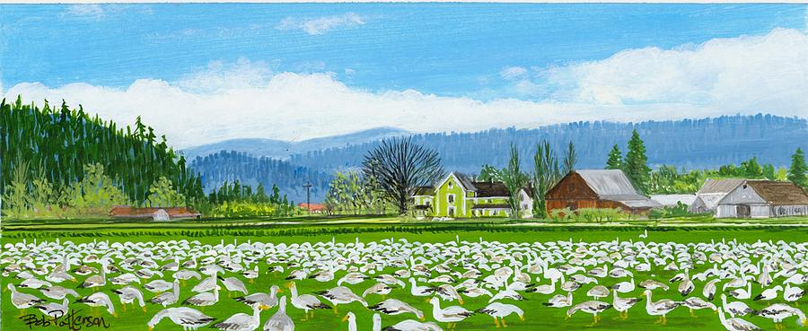 Snow Geese And A Farm House Painting  - Snow Geese And A Farm House Fine Art Print