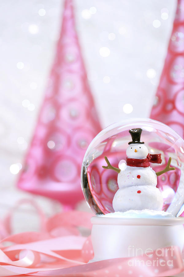 Snow Globe With Pink  Trees Photograph  - Snow Globe With Pink  Trees Fine Art Print