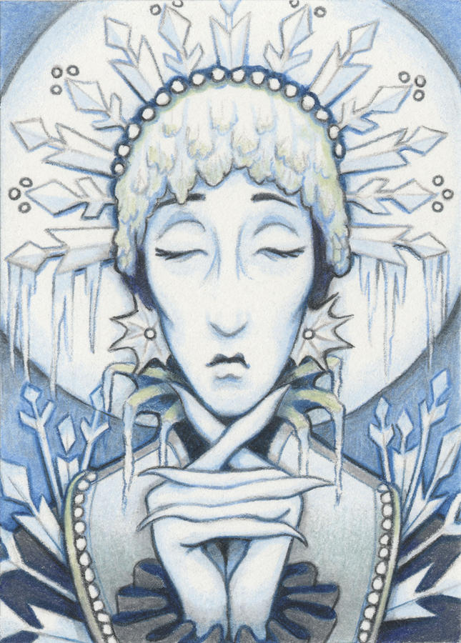 Snow Queen Slumbers Drawing  - Snow Queen Slumbers Fine Art Print
