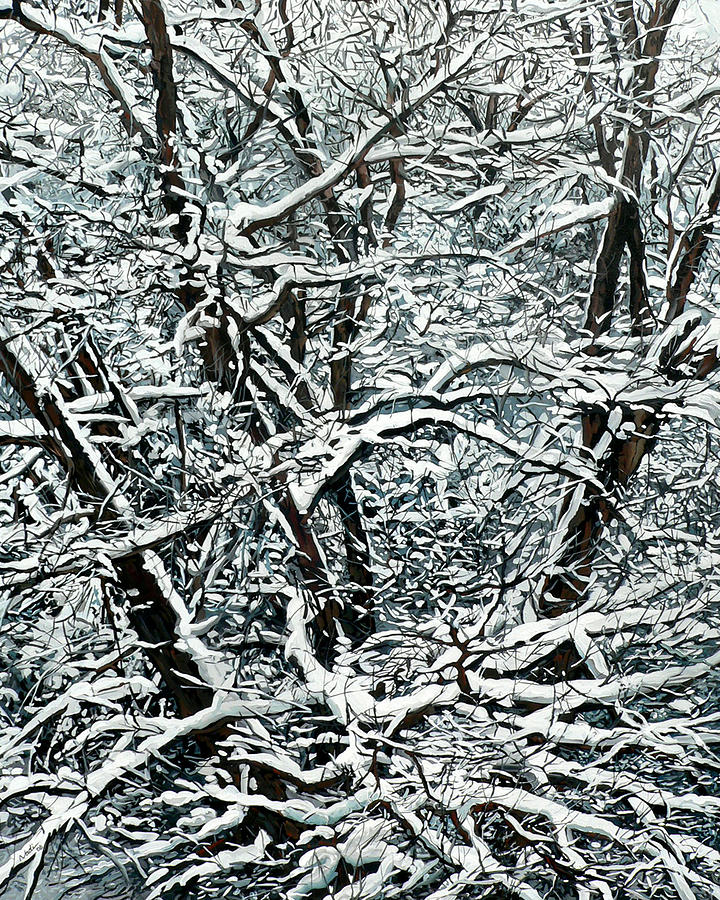 Snow Tree Painting  - Snow Tree Fine Art Print
