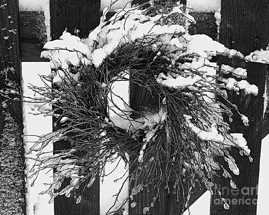 Snow Wreath Drawing  - Snow Wreath Fine Art Print