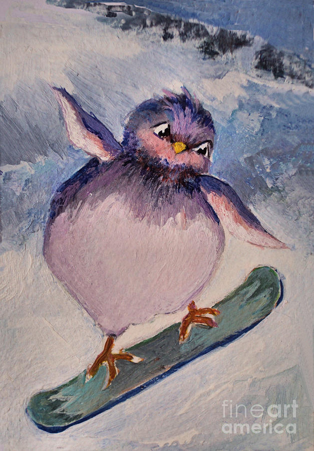 Snowboard Bird Painting