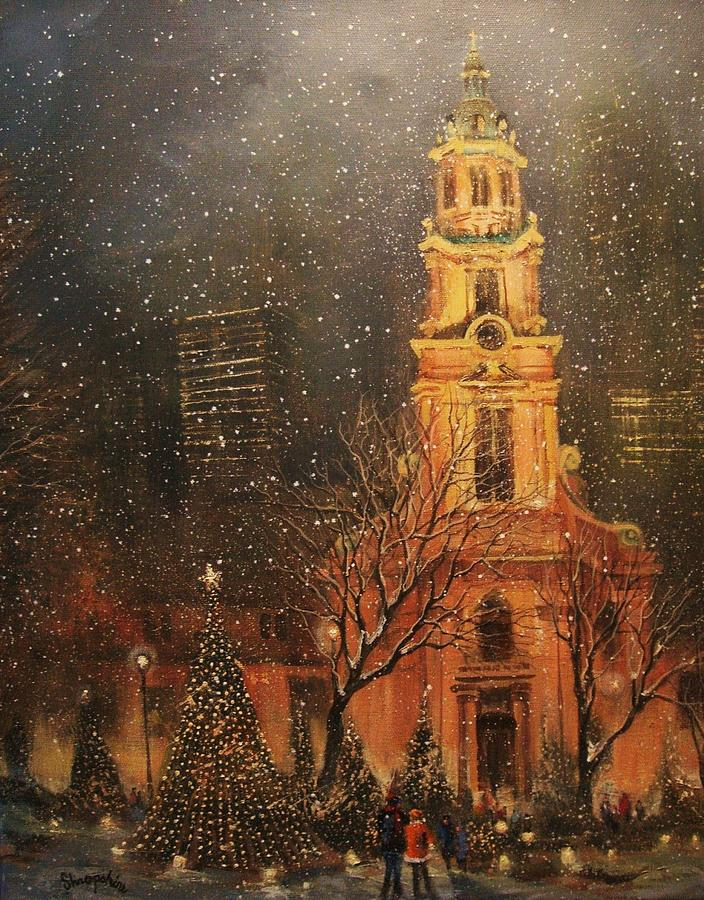 Snowfall In Cathedral Square - Milwaukee Painting  - Snowfall In Cathedral Square - Milwaukee Fine Art Print