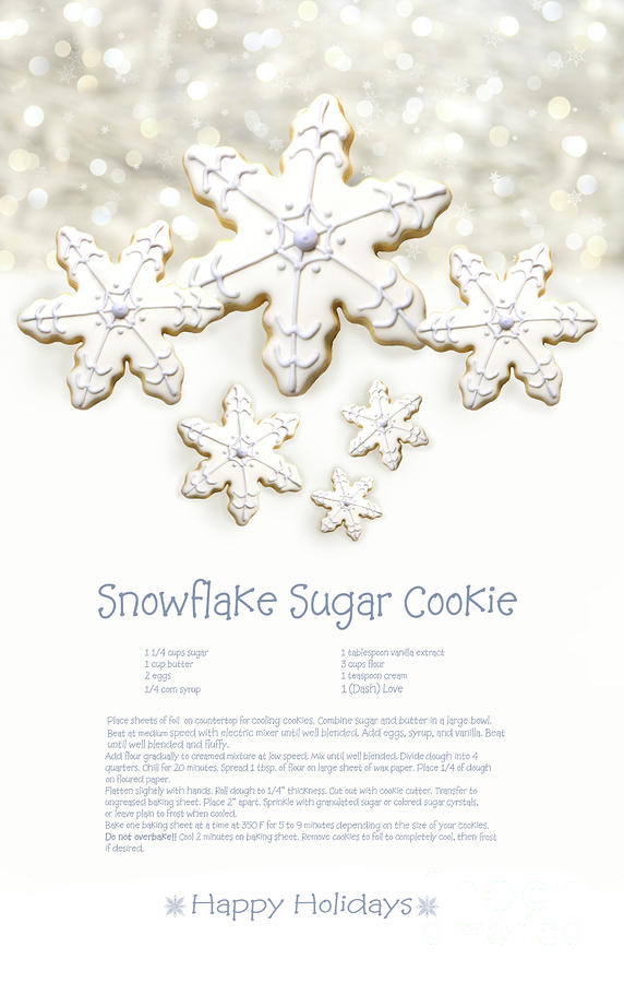 Snowflake Sugar Cookies With Receipe  Photograph  - Snowflake Sugar Cookies With Receipe  Fine Art Print