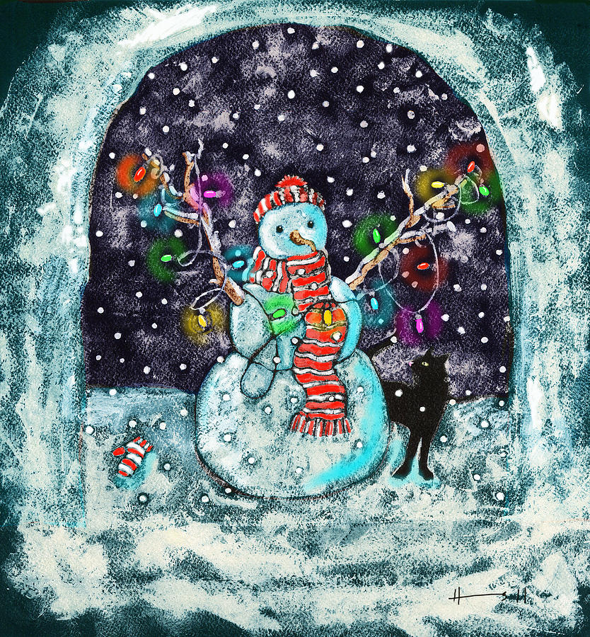 Snowman And Cat Painting  - Snowman And Cat Fine Art Print