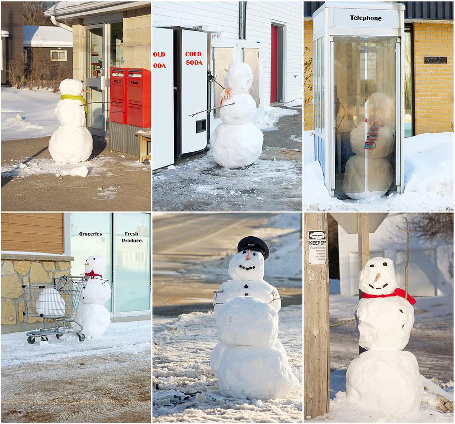 Snowmen Antics. Photograph