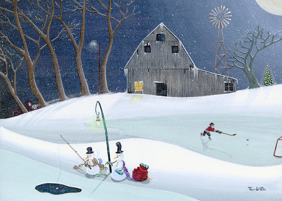 Snowmen On Hockey Pond Painting  - Snowmen On Hockey Pond Fine Art Print