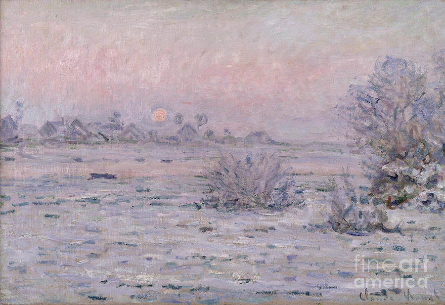 Snowy Landscape At Twilight Painting
