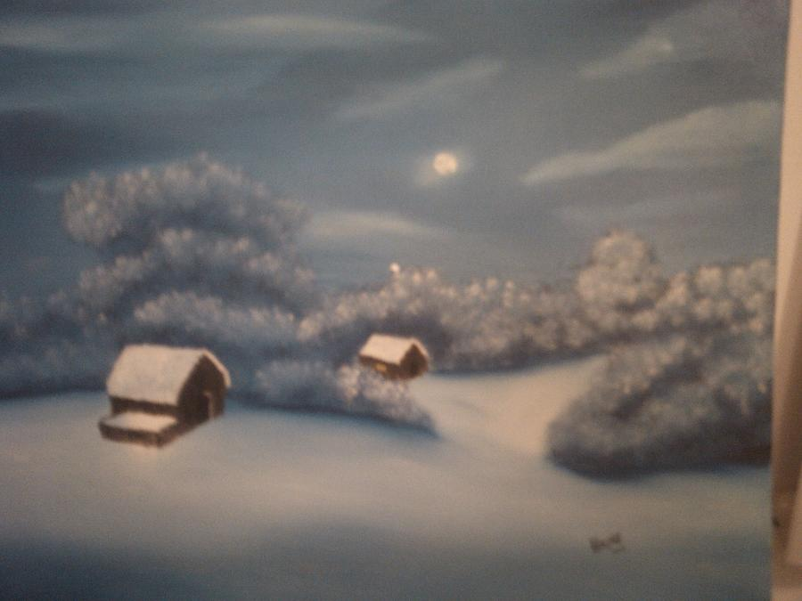 Snowy Night Painting
