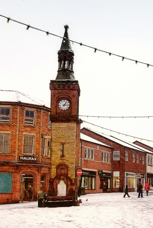 Snowy Ormskirk Clock Tower Photograph  - Snowy Ormskirk Clock Tower Fine Art Print
