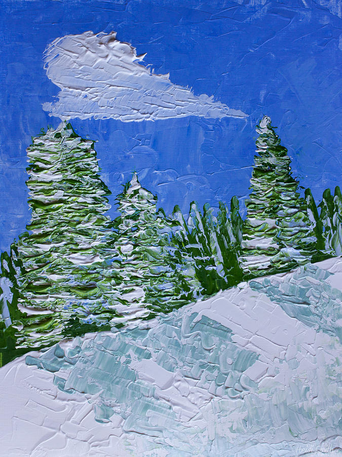 Snowy Pines Painting