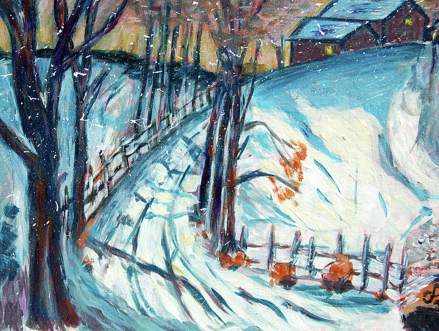 Snowy Road Painting