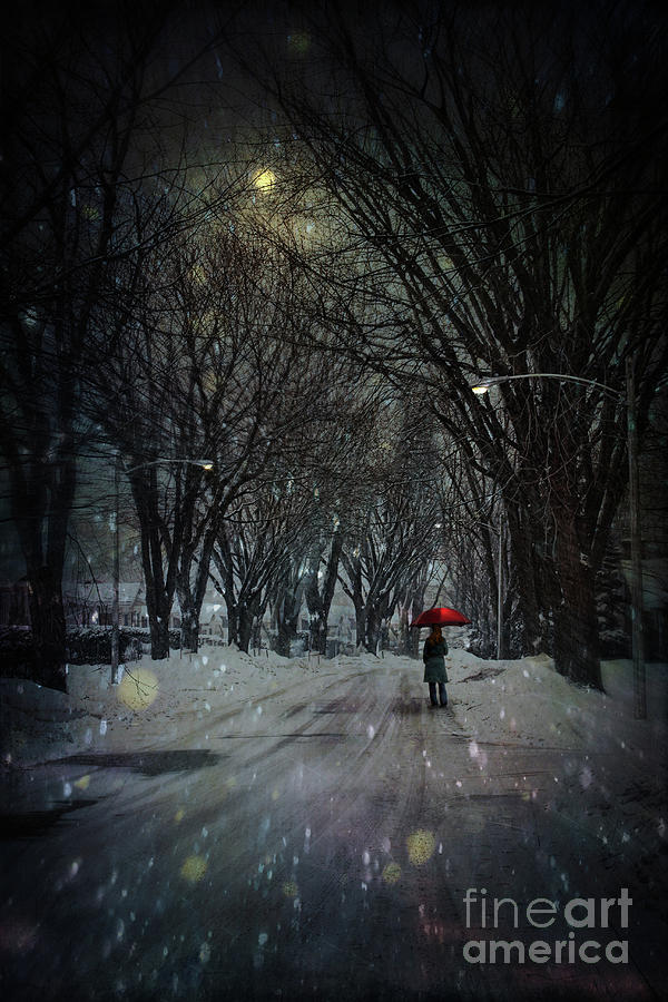 Snowy Winter Scene With Woman Walking At Night Photograph