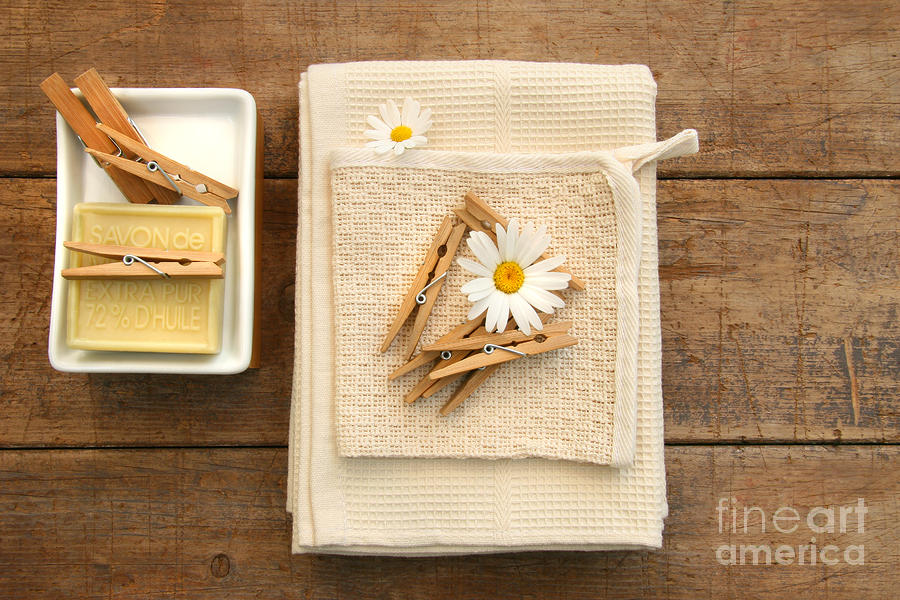 Soap Clothespins And Towels  Photograph