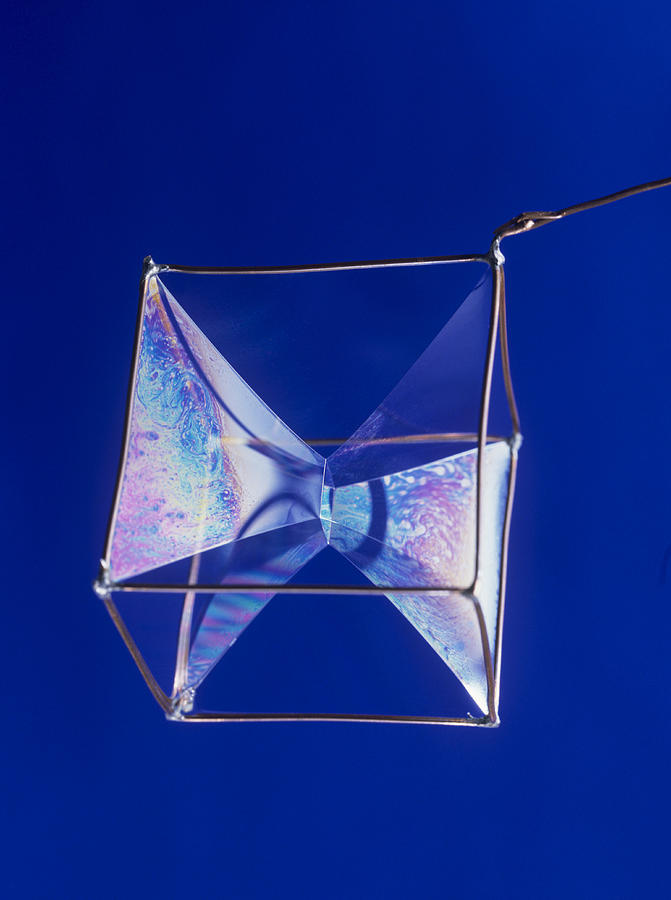 Soap Films On A Cube Photograph