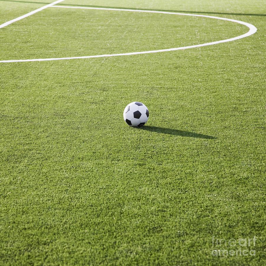Soccer Ball On Soccer Field Photograph by Jetta ...