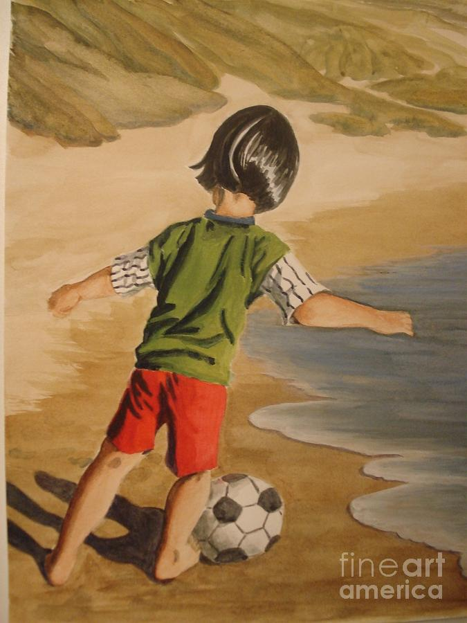Soccer Child Painting  - Soccer Child Fine Art Print