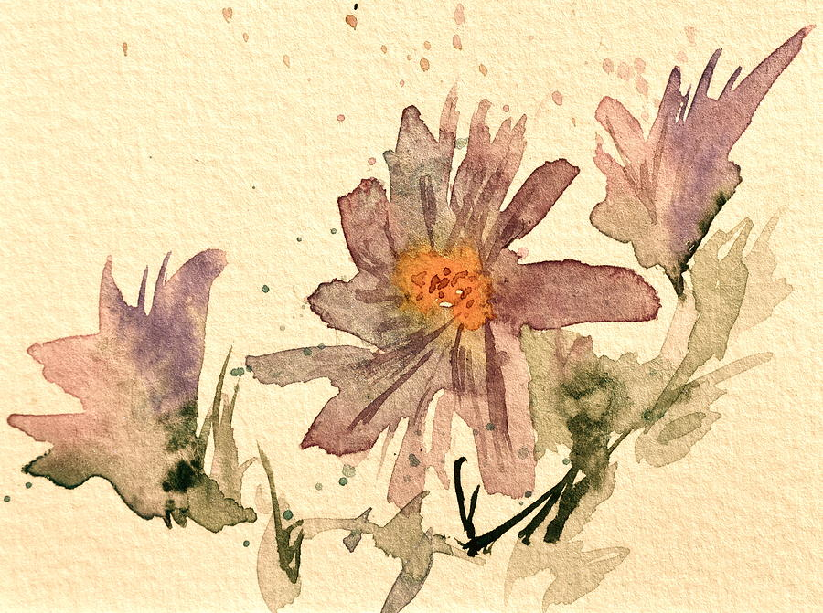 Soft Asters Aged Look Painting  - Soft Asters Aged Look Fine Art Print