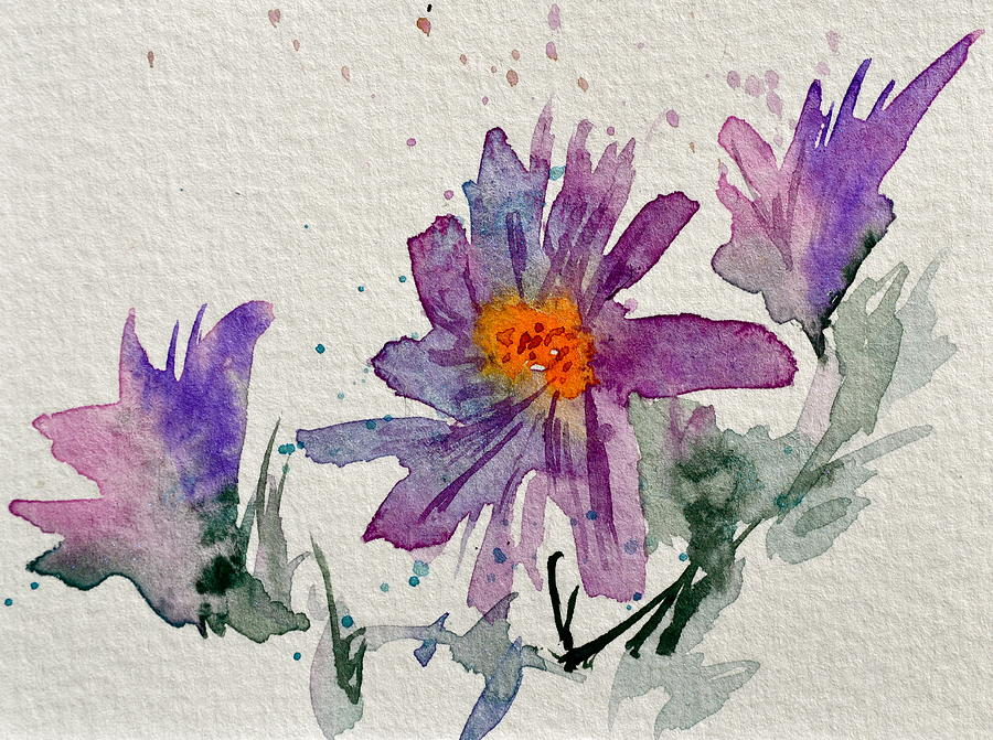 Soft Asters Painting  - Soft Asters Fine Art Print