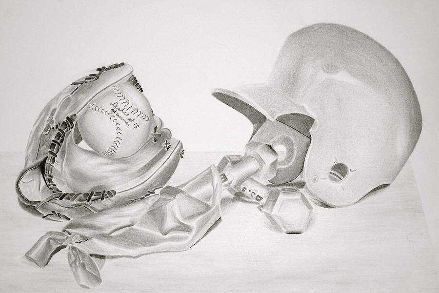 Softball Drawing  - Softball Fine Art Print