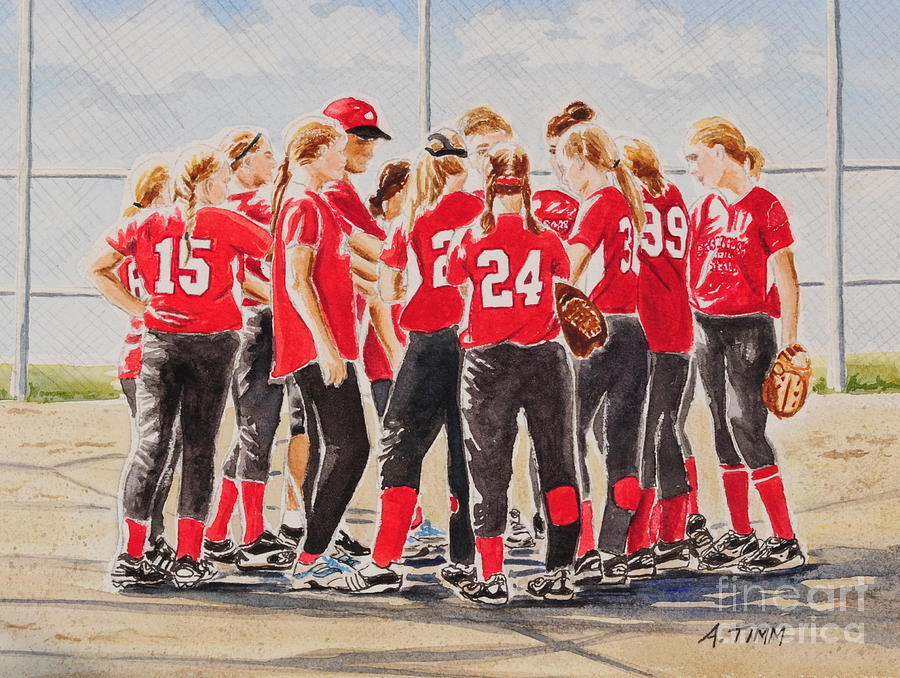 Softball Season Mixed Media  - Softball Season Fine Art Print