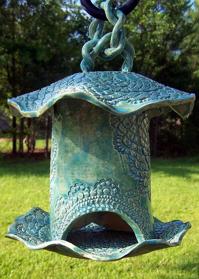 Sold Tourqouise Pottery Bird Feeder By Amanda Sanford