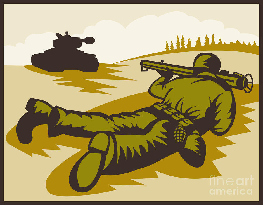 Soldier Aiming Bazooka Digital Art  - Soldier Aiming Bazooka Fine Art Print