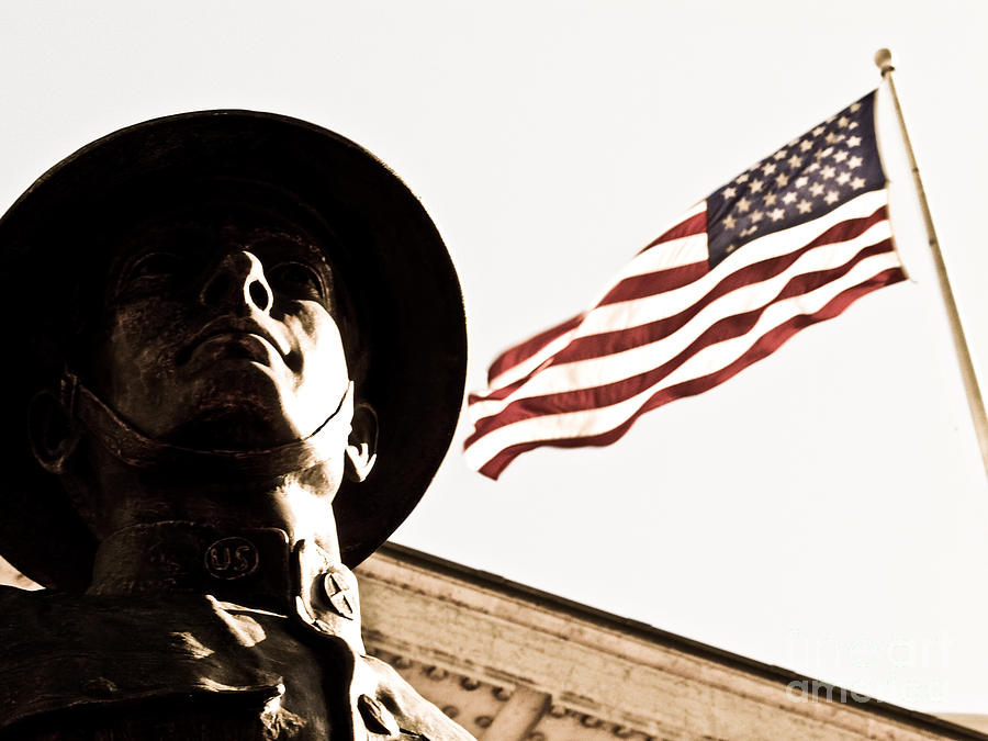 Soldier And Flag Photograph  - Soldier And Flag Fine Art Print