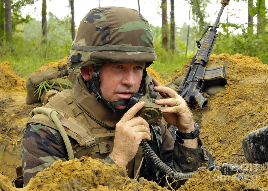Soldier Using A Ta-1 Sound Powered Photograph