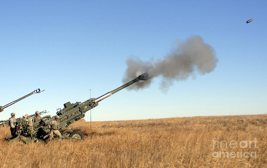 Soldiers Fire A 155mm M777 Lightweight Photograph  - Soldiers Fire A 155mm M777 Lightweight Fine Art Print