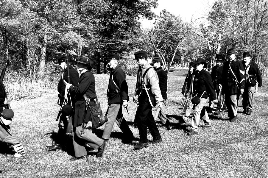 Soldiers March Black And White II Photograph