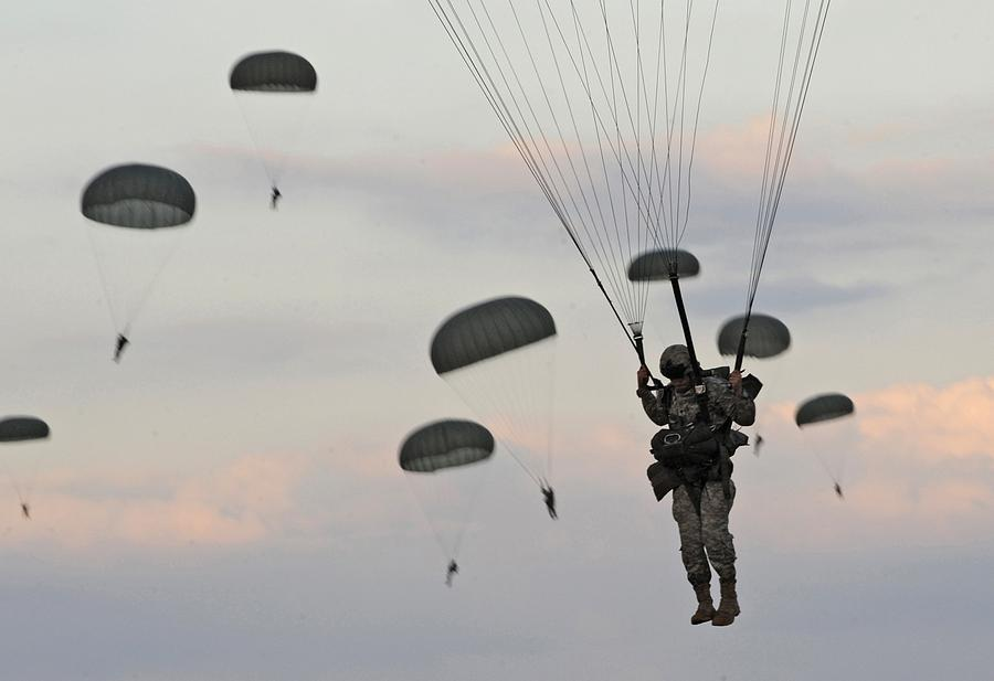 Soldiers Of The 82nd Airborne Descend Photograph
