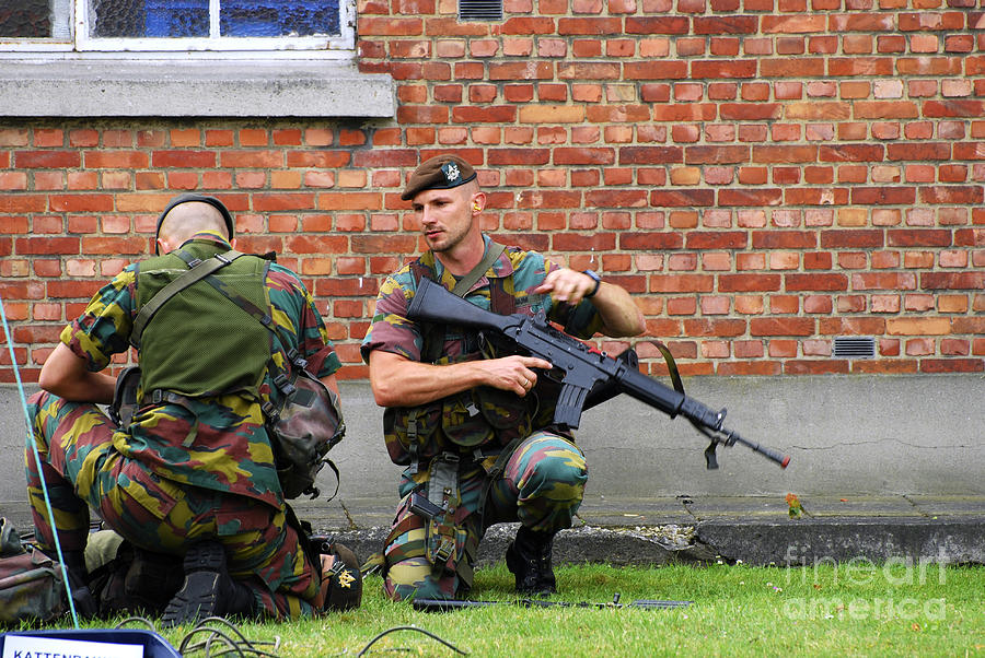 Soldiers Of The Belgian Army Helping Photograph  - Soldiers Of The Belgian Army Helping Fine Art Print