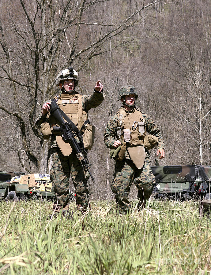 West Virginia Photograph - Soldiers Perform A Site Survey In Camp by Stocktrek Images