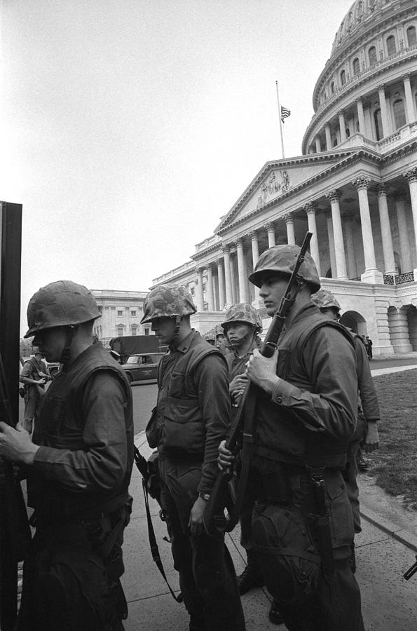 Soldiers Stand Guard Near Us Capitol Photograph