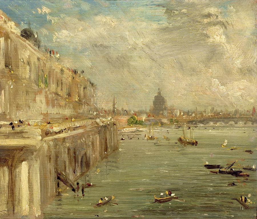 Somerset House Terrace From Waterloo Bridge Painting  - Somerset House Terrace From Waterloo Bridge Fine Art Print