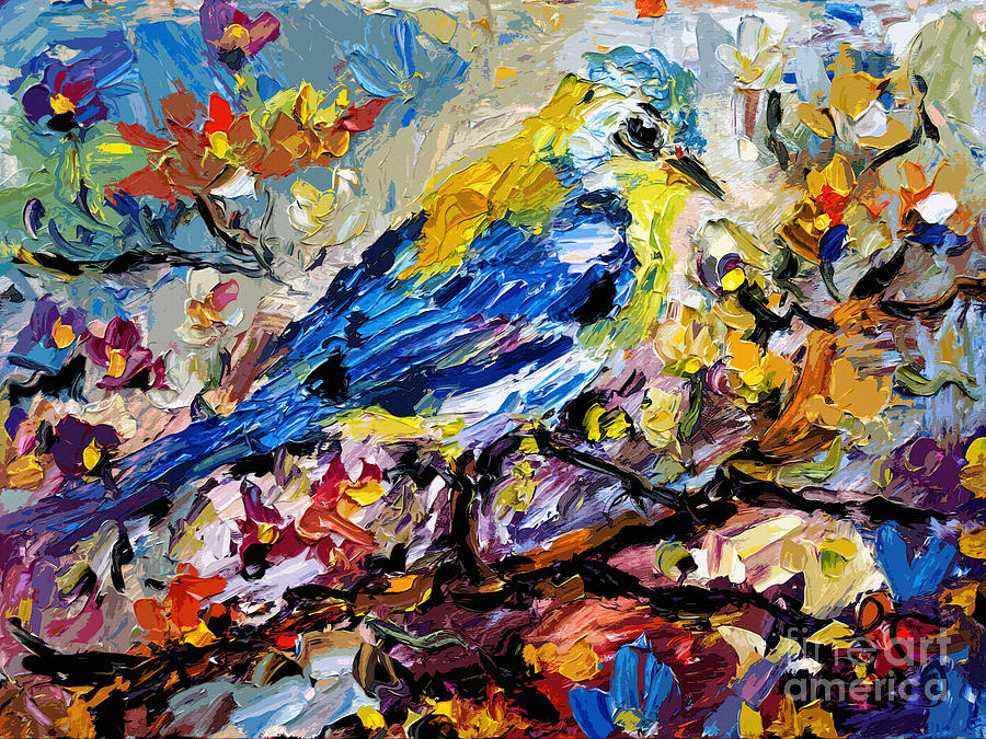 Songbird Blue In A Tree Painting