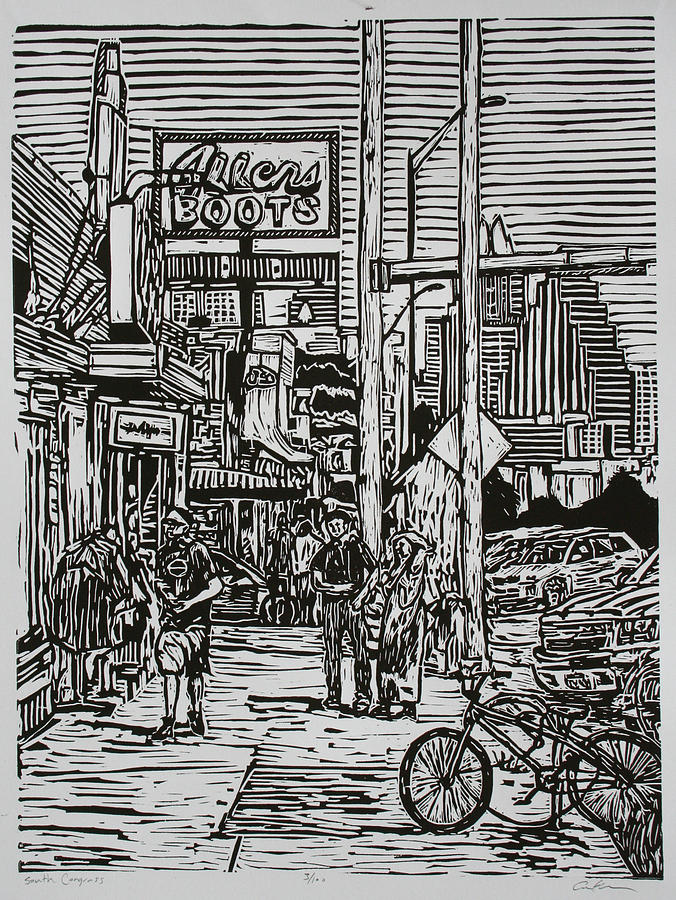 South Congress Drawing  - South Congress Fine Art Print