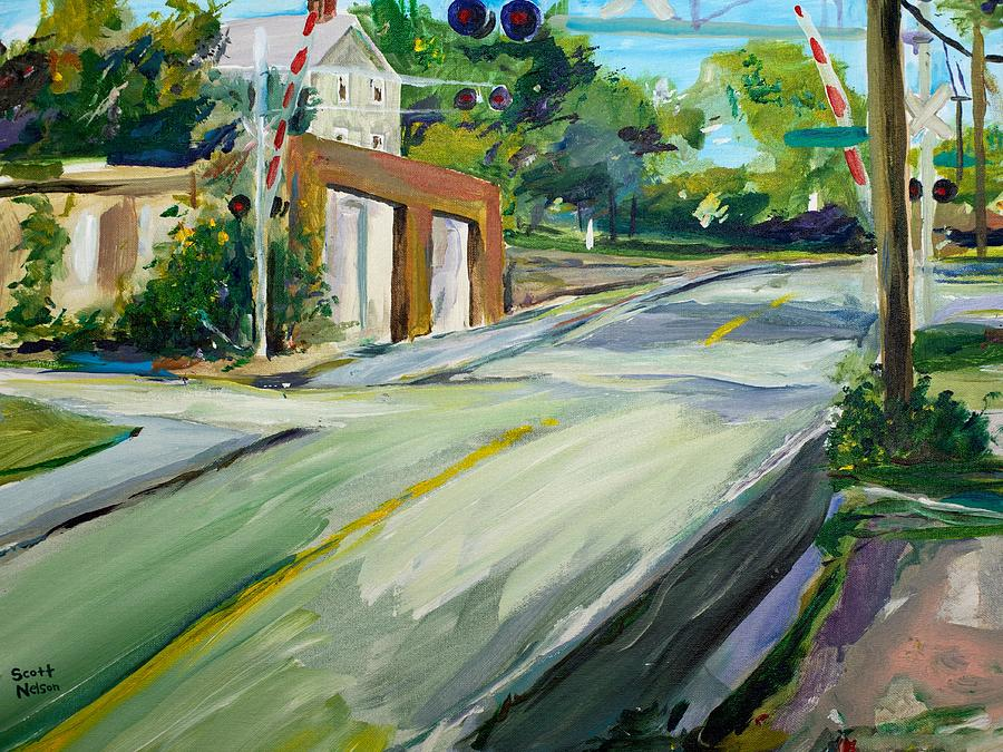 South Main Street Train Crossing Painting  - South Main Street Train Crossing Fine Art Print