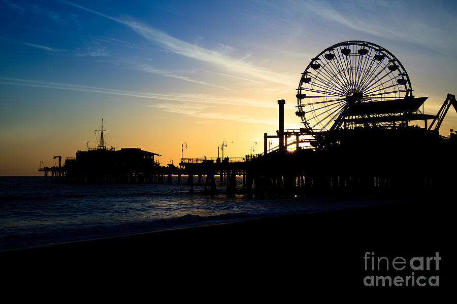 Southern California Santa Monica Pier Sunset Photograph  - Southern California Santa Monica Pier Sunset Fine Art Print
