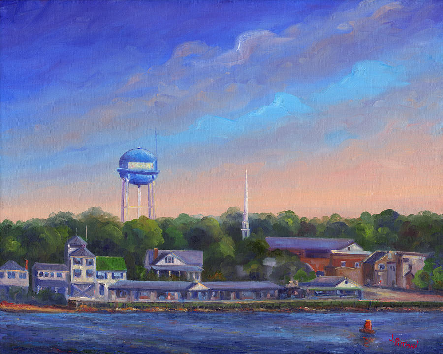 Southport Nc Waterfront Painting  - Southport Nc Waterfront Fine Art Print