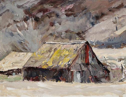 Contemporary Barn Landscape Painting - Southwest Art Barn by Joyce Snyder