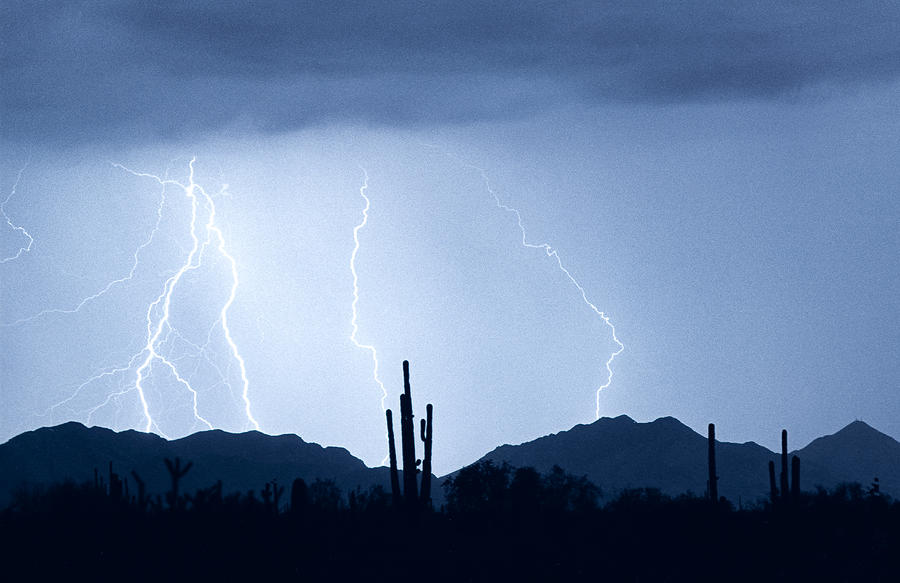 Southwest Desert Lightning Blues Photograph  - Southwest Desert Lightning Blues Fine Art Print