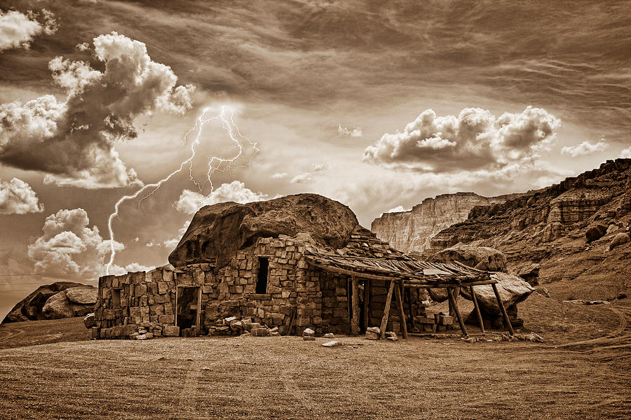 Southwest Indian Rock House And Lightning Striking Photograph  - Southwest Indian Rock House And Lightning Striking Fine Art Print