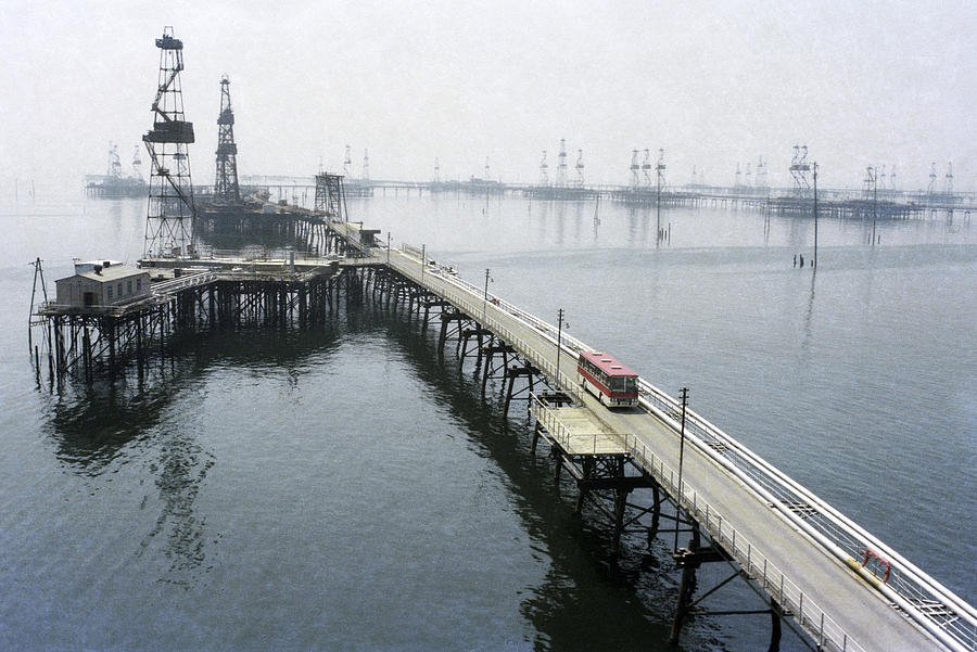 Soviet Caspian Sea Oil Fields, 1978 Photograph