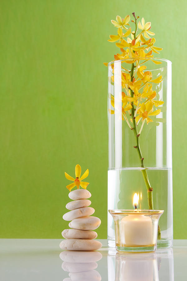Spa Concepts With Green Background Photograph  - Spa Concepts With Green Background Fine Art Print