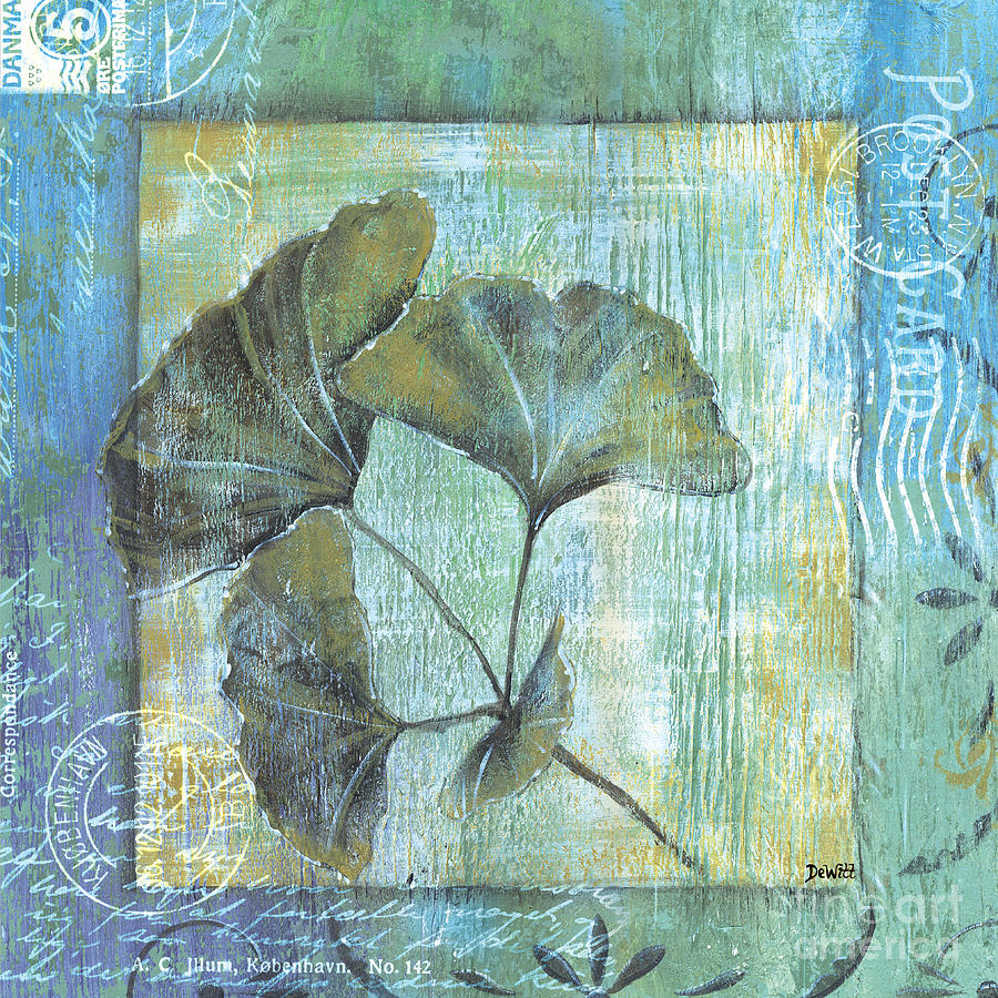 Spa Gingko Postcard 1 Painting  - Spa Gingko Postcard 1 Fine Art Print